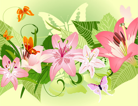 art painting: summer pattern with lilies