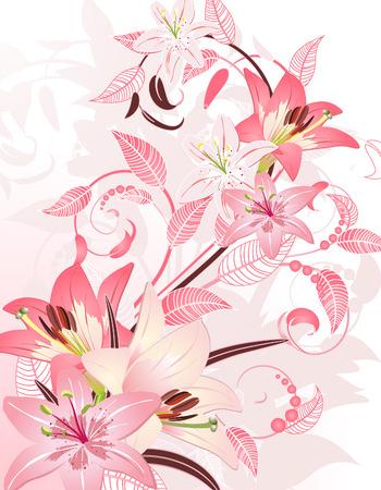 oriental season: pink floral fantasy Illustration