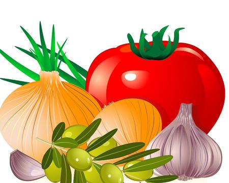 onion tomato garlic olive Vector