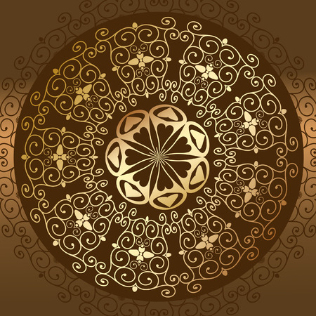 Baroque pattern round gold Vector