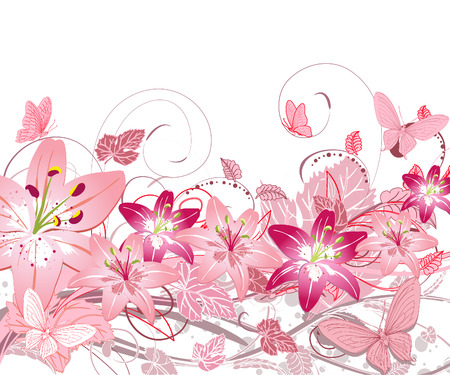 floral pattern of lilies Vector