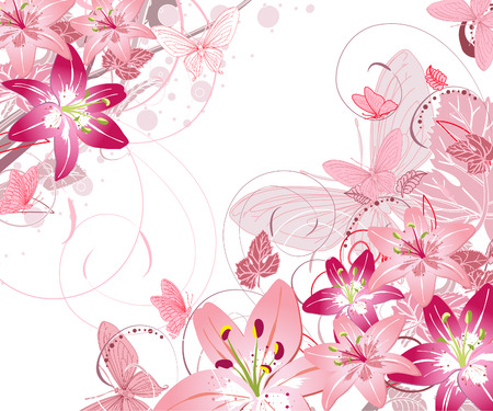 pink backgrounds: floral pattern of lilies Illustration