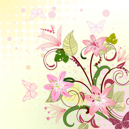 floral pattern with lilies Stock Vector - 6795549