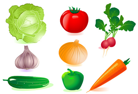 cartoon tomato: set vegetables