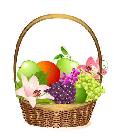 canasta de frutas: canasta de frutas de mimbre con flores