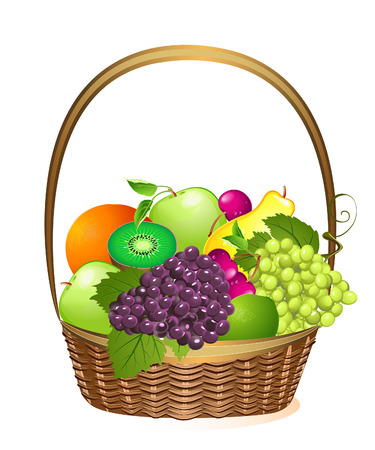 purple grapes: wicker basket with fruit Illustration