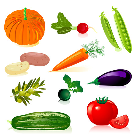 pumpkin tomato: set vegetables