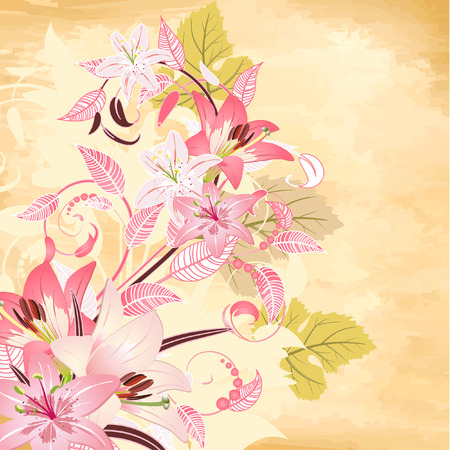 flowers on papyrus background Stock Vector - 6879264