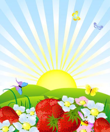 Fresh strawberries Vector