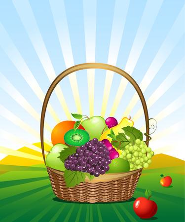 corbeille de fruits: panier de fruits dans la prairie.