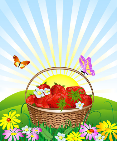 basket of strawberries on the lawn Vector