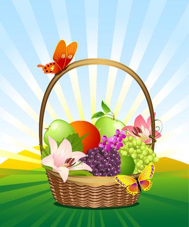 cesto di frutta sul prato Vettoriali