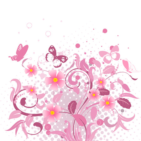 abstract floral pattern pink Stock Vector - 6879323