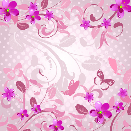 abstract floral pattern pink Stock Vector - 6879327