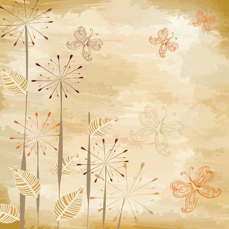 Butterflies on old paper Stock Vector - 6979308