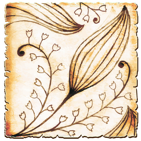 lily of the valley: Figure lily of the valley on papyrus Illustration