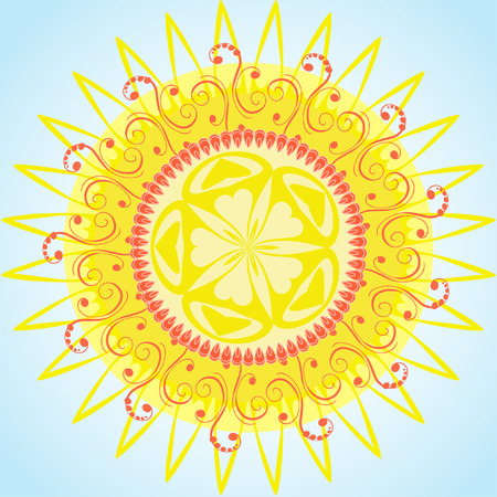 arabesque pattern sun Vector