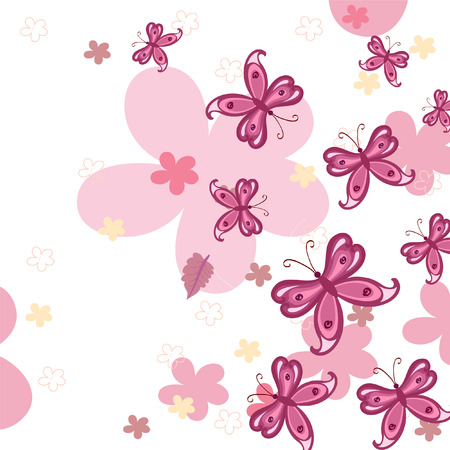 background with butterflies Vector