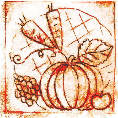 pano: Pano with pumpkin stylized Illustration