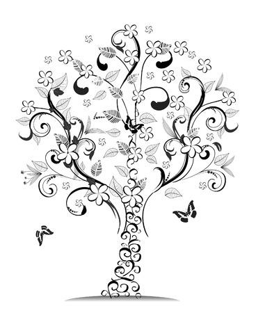 butterfly tree: wood patterned
