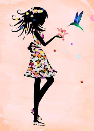 cartoon lady: magician with a bird