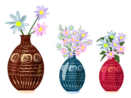 decorative vase with flowers Vector