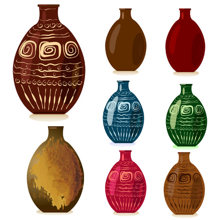 earthenware: decorative vases Illustration