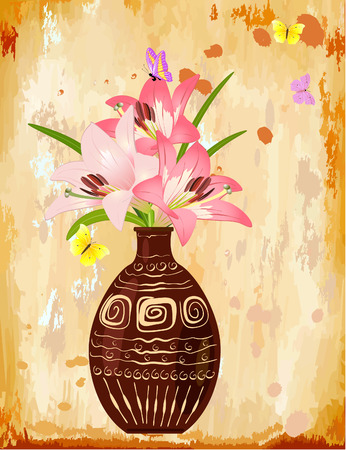 old kitchen: Vase with a bouquet of lilies