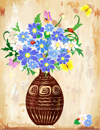 Vase wildflowers Vector