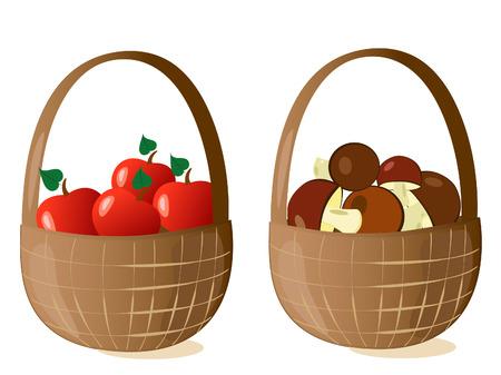 baskets filled Vector