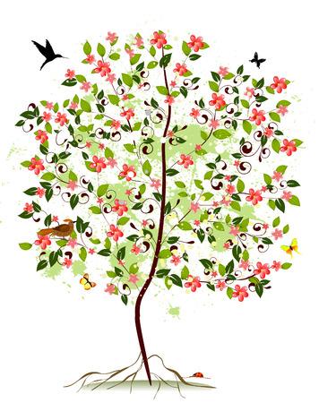 Apple blossom tree Vector