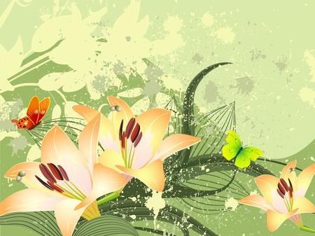 pattern golden lilies Vector