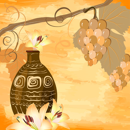 vine with an ancient jug grunge Vector