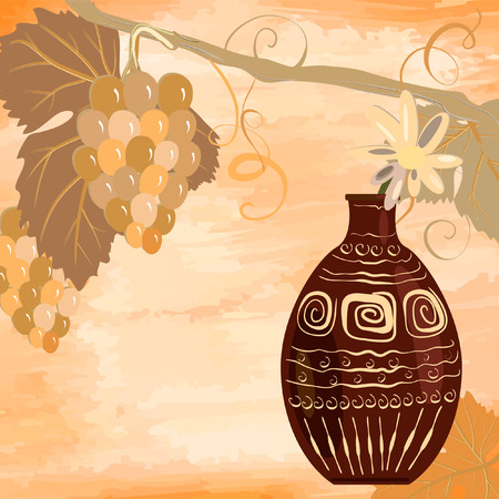vine with an ancient jug grunge Stock Vector - 7172069