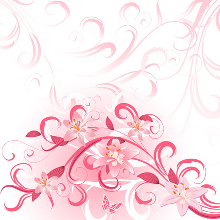 pattern of pink lilies Vector
