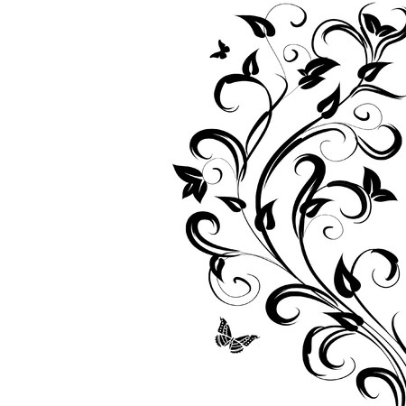 pattern floral branch Vector