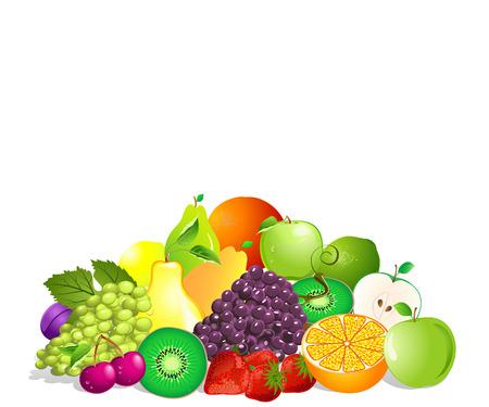 limon caricatura: Conjunto de frutas de verano