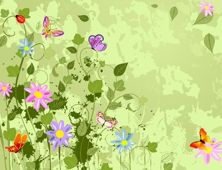 papillon dessin: arri�re-plan de grunge avec fleurs summer