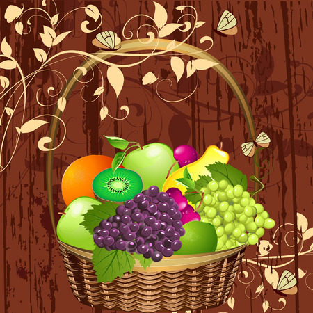 decorative basket of fruit Vector