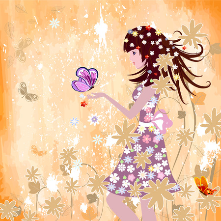 girl on grunge background Vector