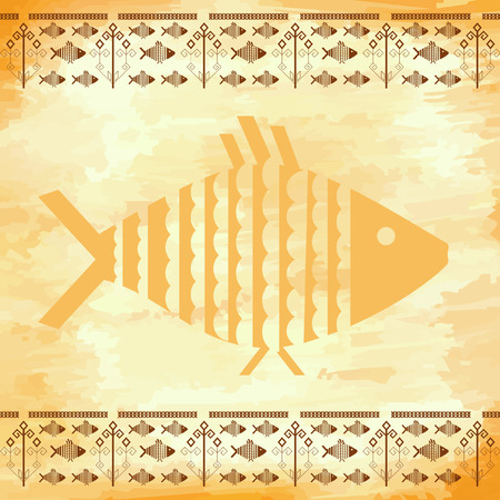 grunge background with the fishes Vector