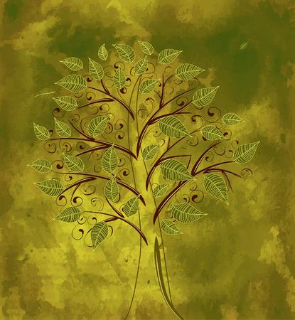 芸術的: グランジ背景の花の木  イラスト・ベクター素材