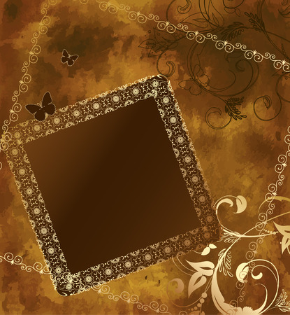 grunge background with a gold frame and patterns Vector