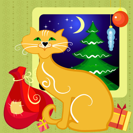 Red Cat with Christmas gifts Vector