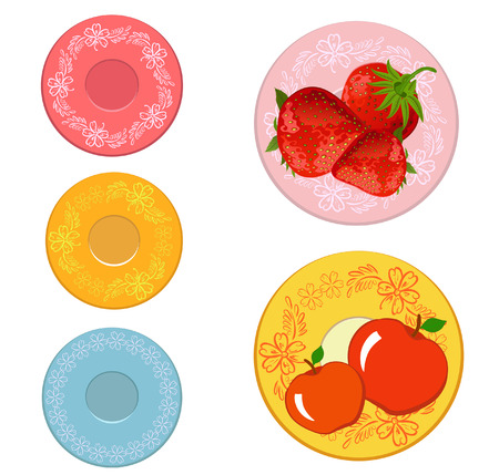 plates with fruits Vector