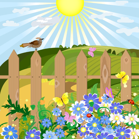 Summer day in the village Stock Vector - 7485309