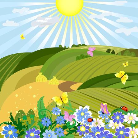 sol caricatura: Soleado paisaje natural