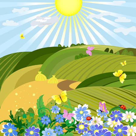 Sunny natural landscape Stock Vector - 7485321