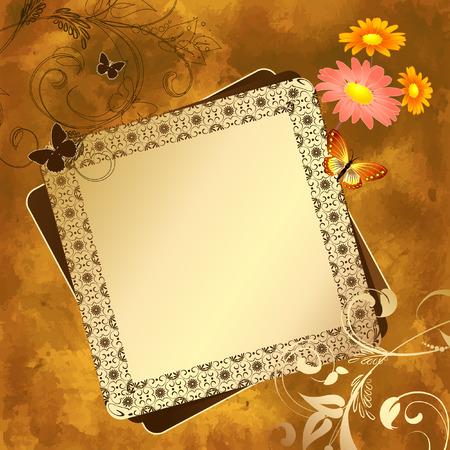 animal frames: grunge floral pattern