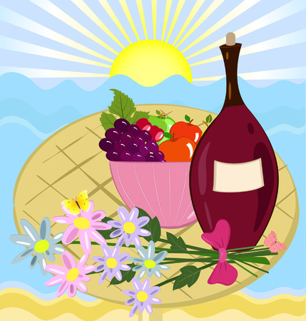 fruit flowers and a bottle of wine on the beach Vector